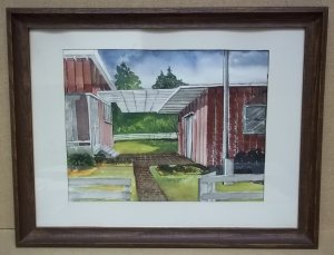 Handmade Patio Scene Watercolor 17 1/2in x 13in Unsigned  * Paper Glass