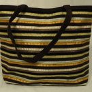 Elissa Bloom Purse Cotton Female Adult Tote Brown/Gold/Beige Stripes 10-17df