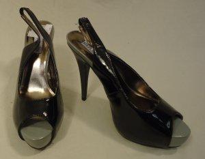 Steve Madden Open Toe Slingback Stiletto Man Made Female Adult 8.5 Black/Gray Solid/Shinny 17-211sm