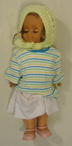 Generic 18-312fg Vintage Baby Doll with Crocheted Hat 18in Plastic Fabric