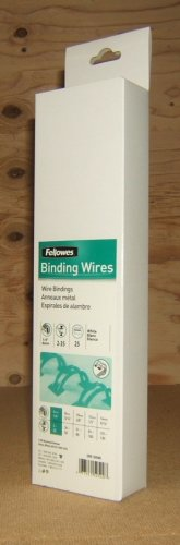 Fellowes Binding Wires 6mm 1/4in 2-35 White 25ct CRC52540 * Metal *