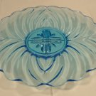 Designer 112-30k Vintage Serving Dish Blue Depression Glassware 11in Glass