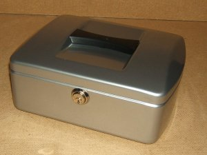 Burg Wachter Cash Box 10-in x 8-in x 3 3/4-in Silver German Made 7250 Steel