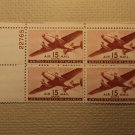USPS Scott C28 15c Air Mail Transport Plane 1941 Mint NH OG Plate Block 4 Stamps