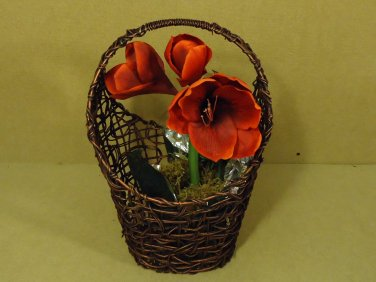 Handcrafted Decorative Basket with Flower 19in x 11in x 9in Brown Plastic
