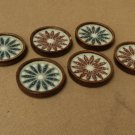 Handcrafted Flower Coasters 3 1/2in x 3 1/2in x 3/4in Set of 6 Glass Wood