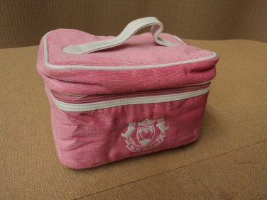 Designer Cosmetic Bag 6in D x 9in W x 6in H Corderoy Female Adult Pink Solid
