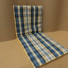 Handcrafted Reversible Chair Pad 18in W x 43in L Blues/Yellows/Whites