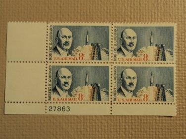 USPS Scott C69 8c US Air Mail Robert H Goddard 1964 Mint NH Plate Block 4 Stamps