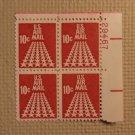 USPS Scott C72 10c US Air Mail 50 Star Runway 1968 Mint NH Plate Block 4 Stamps