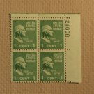USPS Scott 804 1c George Washington 1789-1797 1938 Mint NH Plate Block 4 Stamps