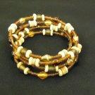 Designer Fashion Bracelet Beaded/Strand Wood Metal Female Adult Browns