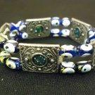 Designer Fashion Bracelet Beaded/Strand Metal Female Adult Silver/Blue/White