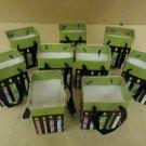 FTD Lot of 9 Mini Bags 7in H x 5in W x 4in D Green/Red/Blue Liners Paper Plastic