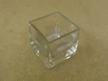 Designer Flower Pot 2 1/2in x 2 1/2in x 2 1/2in Clear Modern Rectangular Glass