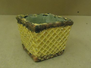 Designer Flower Pot 4 1/2in x 4 1/2in x 4 1/2in Green/Yellow Rustic Terra Cotta