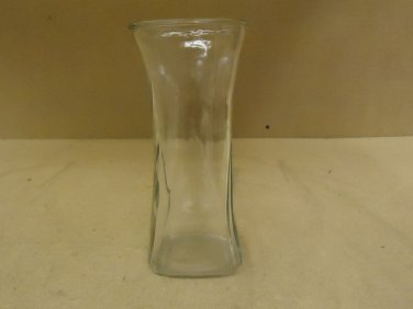Designer Flower Vase 9 1/2in H x 4in D Clear Traditional Round Curved Glass