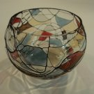 Designer Round Candle Holder Sphere 5in D x 4in H Clear/Red/Blue Glass