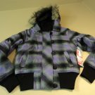 OP Hooded Bomber Jacket Faux Wool Female Small 3/5 Purples Plaids & Checks