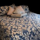 The Bibb Company King Bedding Set Plus Pillows Blue/Gray Cotton Polyester