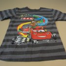 Disney Store Boys T-Shirt Cars Cars Lighting McQueen 4XS Grays Striped