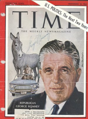 George Romney Hand Signed Autographed 1962 Time Magazine Cover (father of Mitt) UACC