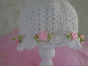 Crocheted Baby Girl Hat Cap Pink Ribbon Roses Christening Photo Prop
