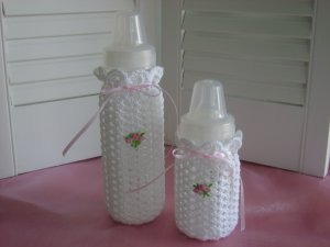 Crocheted Baby Bottle Covers Pink Rosebud