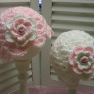 Crocheted Baby Girl Twin Hats Photo Prop Pink Roses Gift