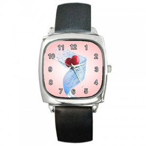Heart in Blue Ribbon Square Metal Watch