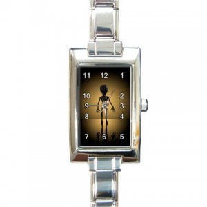Space Alien Rectangular Italian Charm Watch