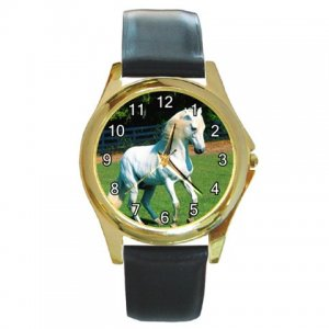 White Horse Round Gold Metal Watch