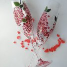 Set of 2 Personalized Champagne glasses Blooming Lilac