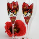Set of 2 Personalized Champagne glasses Red poppies and butterflies