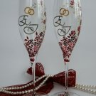 Set of 2 Personalized Champagne glasses Silver initials Red and white liitle roses