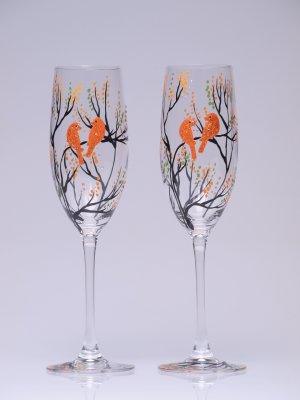 Set of 2 Personalized Champagne glasses Trees and golden orange birds