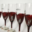 Hand painted bridal shower party champagne glasses