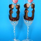 Set of 2 Personalized Champagne glasses Wedding theme Badger-dog