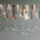 Bridal shower party Personalized Wine glasses Portraits and bridesmaids dresses