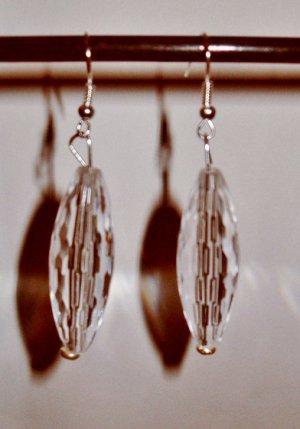 Teardrop Earrings Long clear oval teardrop earrings