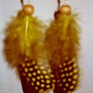 Feather Earrings Golden guinea feathers with wood bead