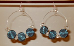 Basketball Wives inspired earrings brilliant blue mesh and clear crystal beads