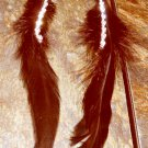 Feather Earrings long black silky feathers with rhinestones
