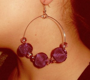 Basketball wives inspired gold hoop with purple mesh and crystal  beads