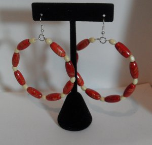 Hoop Earrings with decorative red oval wood beads