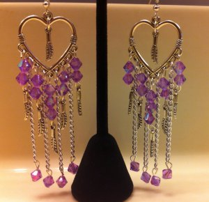 Chandelier heart pendant earrings violet silver leaves and chains