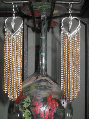 Paparazzi inspired chandelier earrings with gold and silver chains