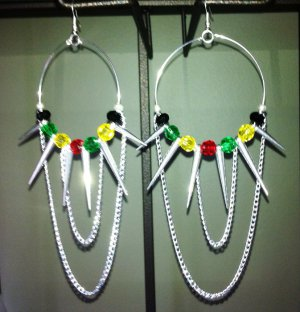 Jamaican style Rasta hoops with colorful beads chains and spikes
