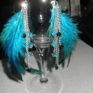 Feather Earrings with lots of teal blue feathers beads and chains
