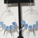Basketball Wives inspired earrings with silver spikes and light blue beads